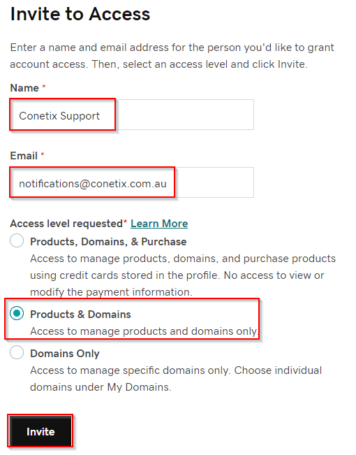 how to invite conetix to access your godaddy account