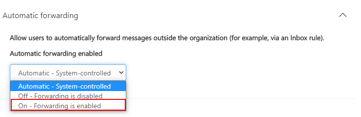 Enable Forwarding to External Address in Microsoft 365