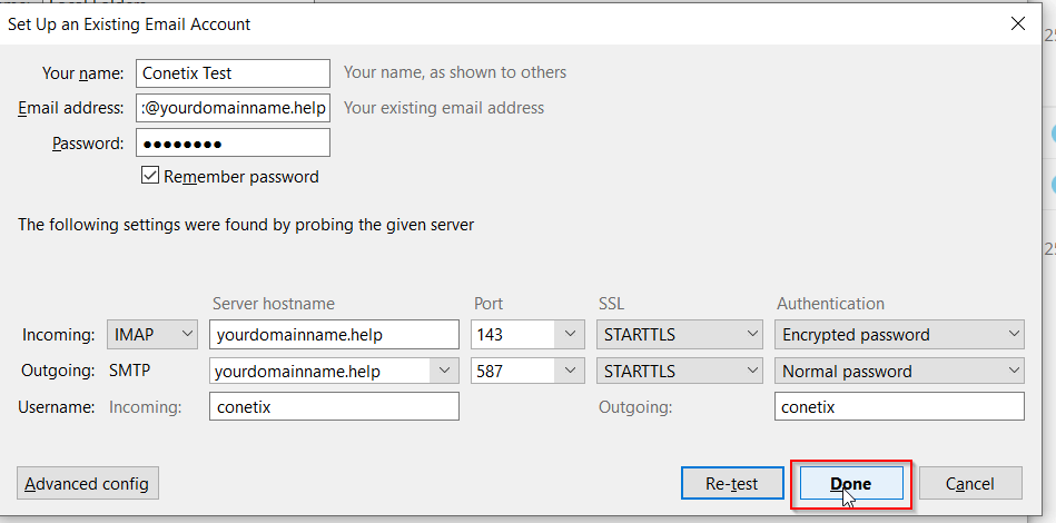 setting up an imap/pop email account in thunderbird