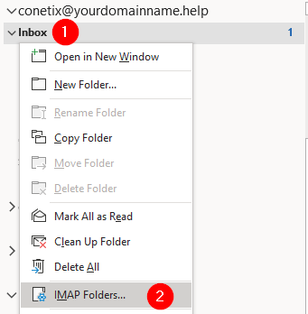how to subscribe to imap folders in ms outlook