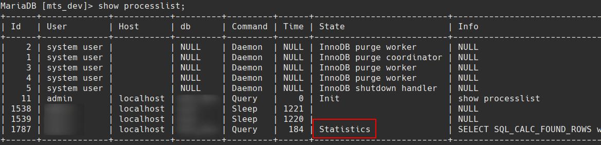 slow mariadb sql queries in statistics state