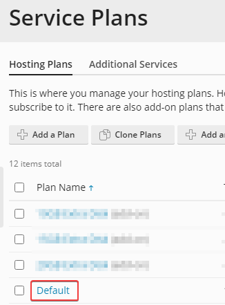 how to set resource limits for a plesk service plan