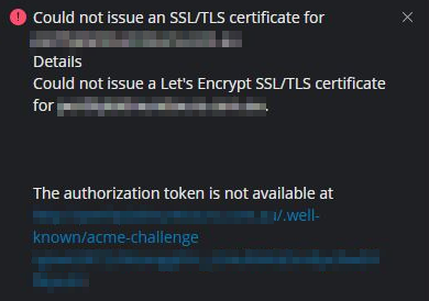 let's encrypt fails to issue or renew on plesk windows