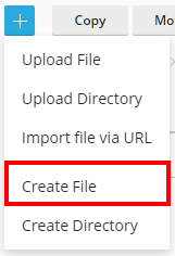 how to create a file in plesk file manager