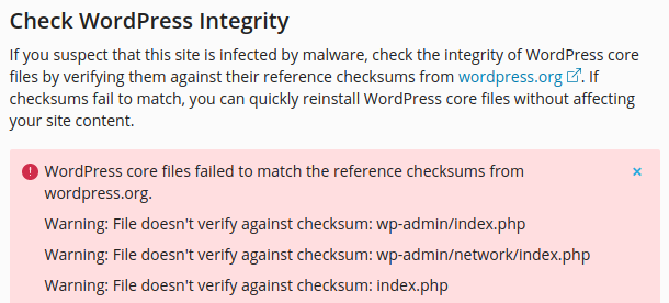 how to check and correct wordpress core integrity issues